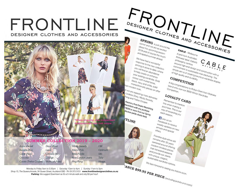 Frontline Designer Clothes and Accessories Newsletter