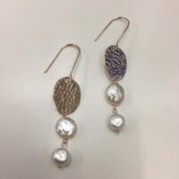 rose gold pearl hook earrings